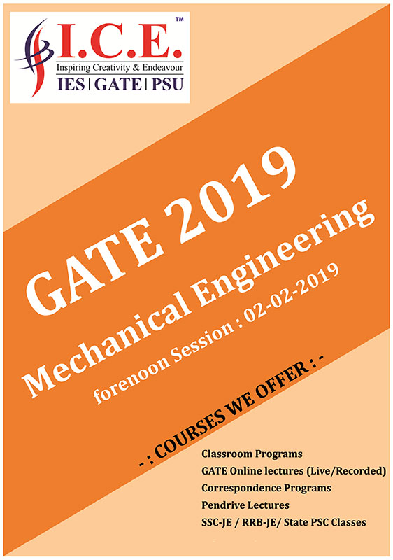 Solution of Mechanical Engineering GATE 2019 Paper (Forenoon Session)